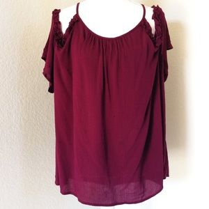 🌺AMBIANCE🌺PLUS SIZE CRANBERRY COLD SHOULDER TOP